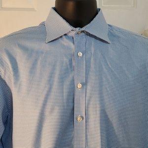 THOMAS PINK Slim Fit Blue Houndstooth Shirt Sz 16